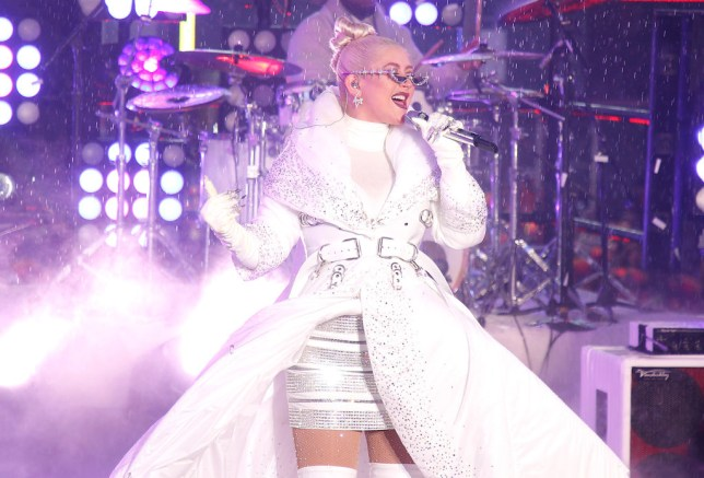 Christina Aguilera performing on New Year's Eve 2018 in Times Square New York