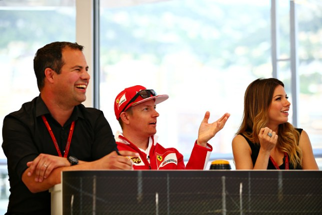 Ted Kravitz sitting alongside Kimi Raikkonen and Federica Masolin