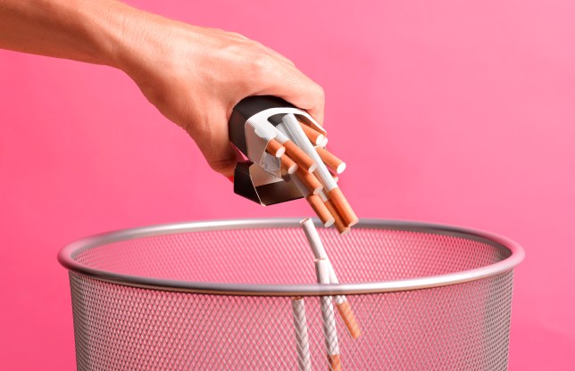 giving up smoking by throwing away cigarettes