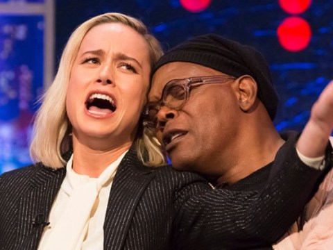 Brie Larson and Samuel L Jackson recreate Lady Gaga and Bradley Cooper's iconic Oscars performance