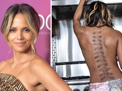 Halle Berry is one brave soul as she unveils huge back tattoo while cooking topless in the kitchen