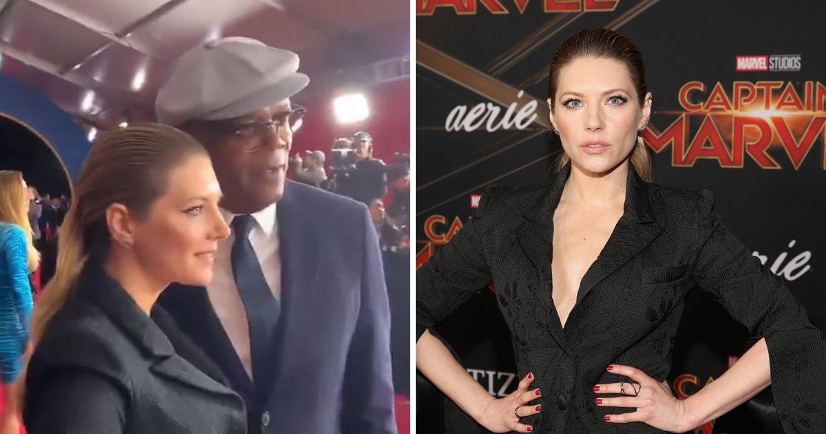 Vikings' Katheryn Winnick gives us all the feels as she embraces Samuel L Jackson at Captain Marvel premiere