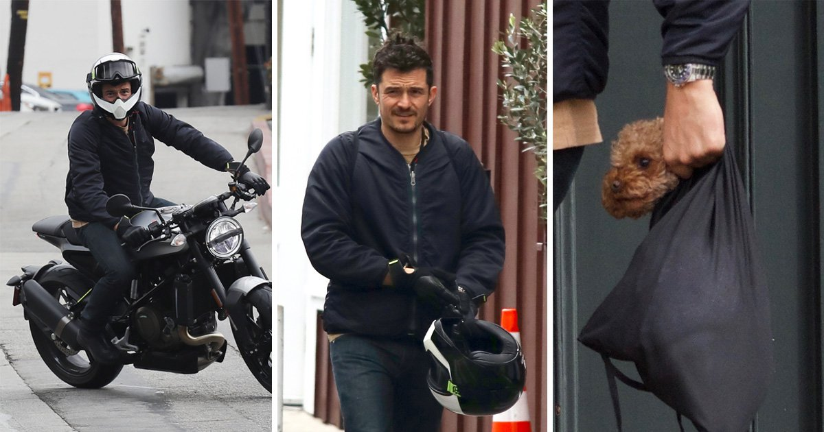 Orlando Bloom and best mate Mighty grab lunch together as actor shows off unconventional carrying method