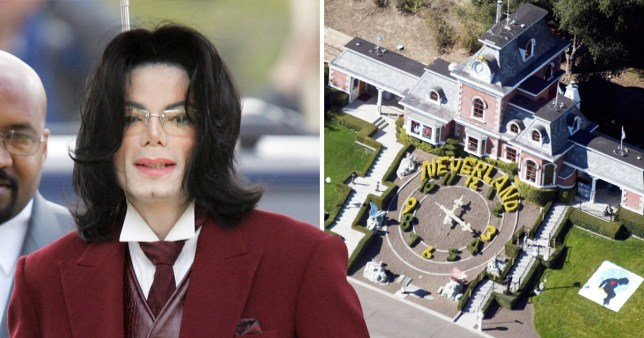 An aerial view of the Neverland Valley Ranch, next to a photo of michael jackson