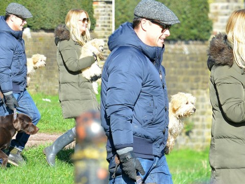 Ant McPartlin takes beloved dog Hurley for stroll with new puppies and girlfriend Anne-Marie Corbett
