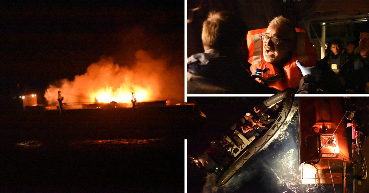Navy crew saves 27 from flaming merchant ship in eight-hour rescue