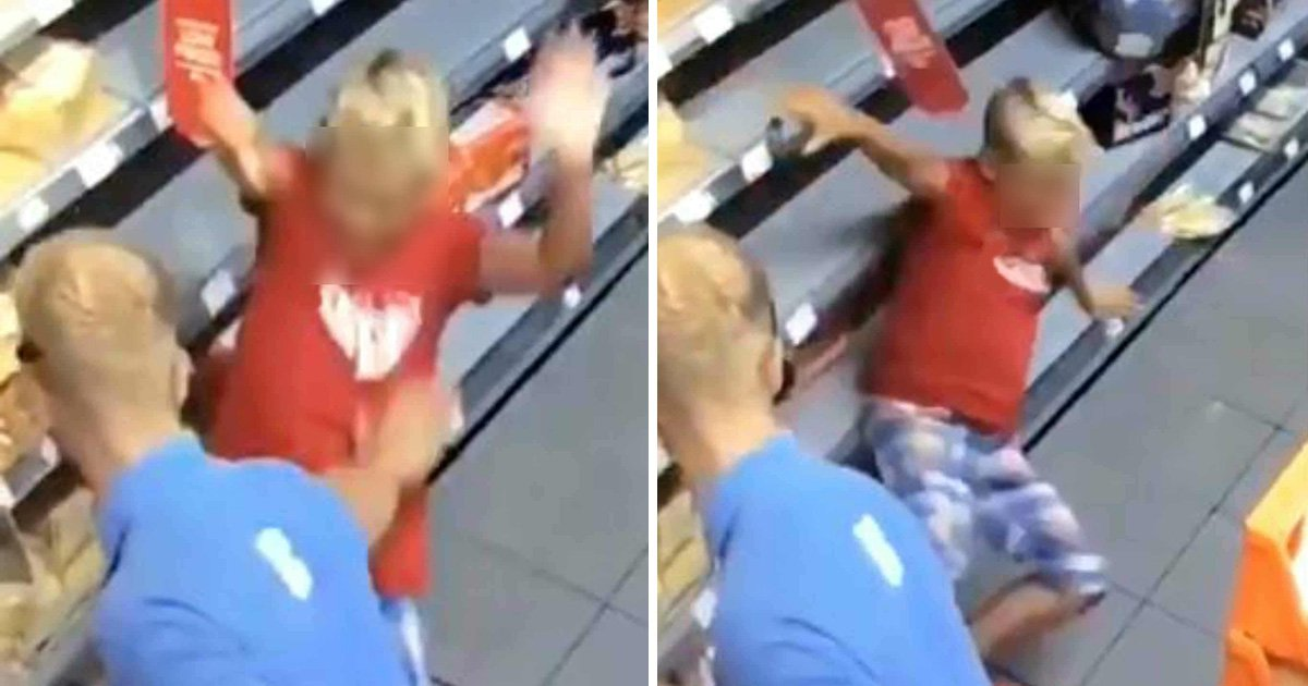 Co-op worker filmed violently pushing boy who punched him in shop
