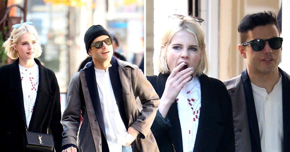 Rami Malek struggles to keep Lucy Boynton's attention as Bohemian Rhapsody star yawns on sunshine stroll