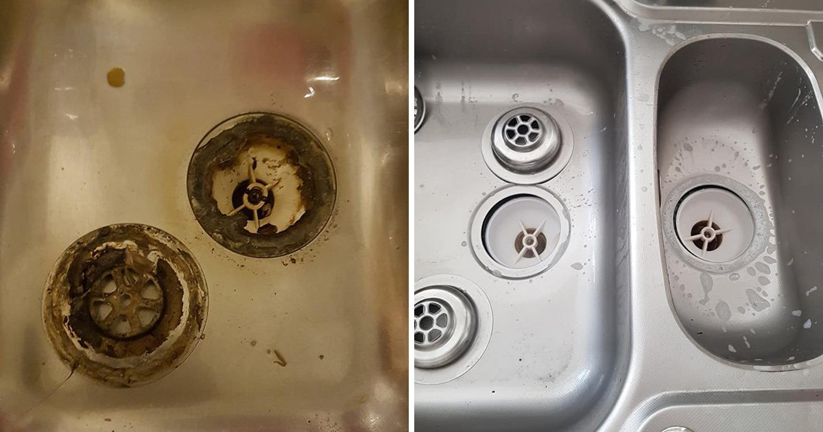 Woman discovers loads of mouldy food trapped under kitchen plug hole
