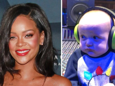 Rihanna gives an eight-month-old baby first listen of her new album and fans are 'jealous'
