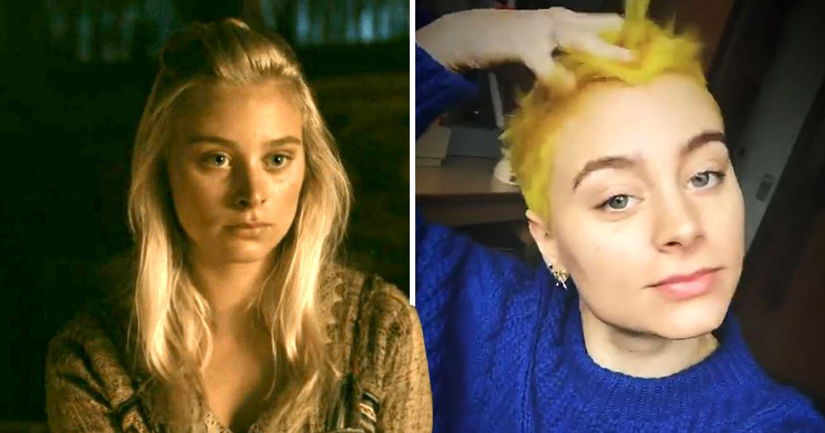 Vikings star Ida Marie Nielsen looks worlds apart from Margrethe as she debuts bright yellow pixie cut