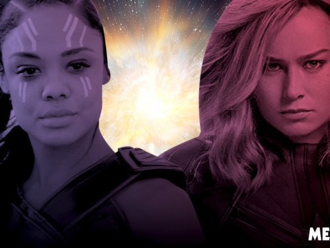 Thor's Tessa Thompson reacts to 'wild' Valkyrie and Captain Marvel romance theory