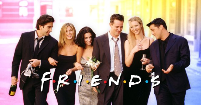 The cast of Friends walking together arm in arm