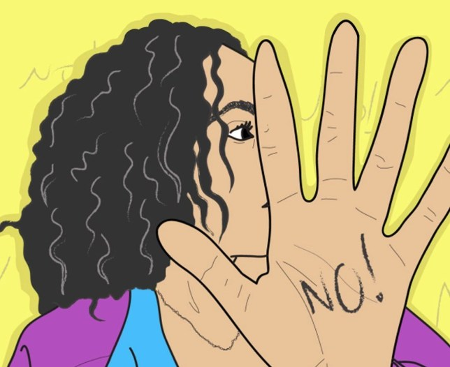 illustration of woman holding hand up with 'No' written on it