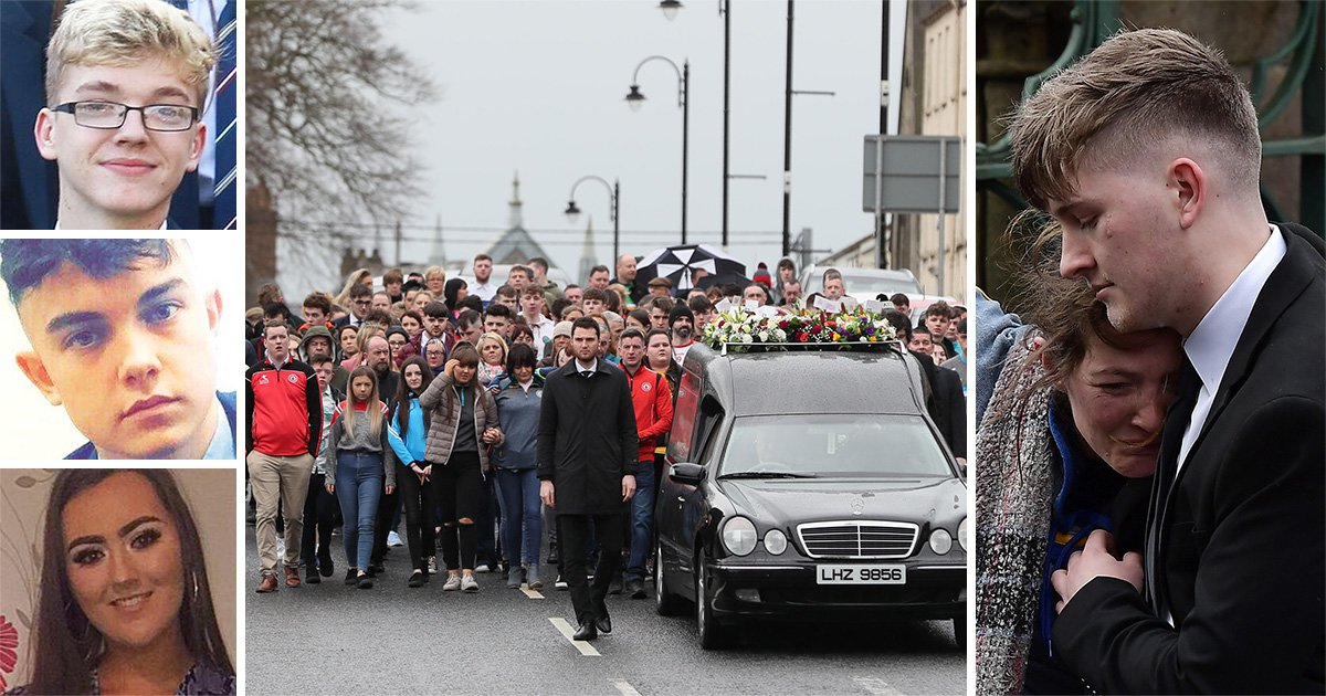School children line streets for funeral of classmates killed in St Patrick's Day crush