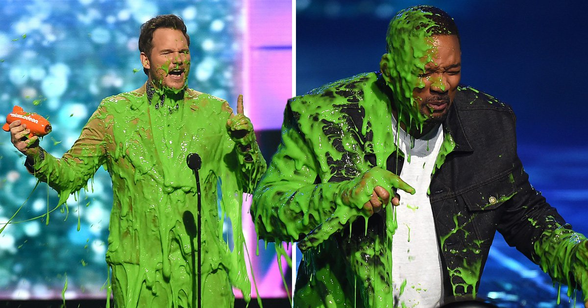 Chris Pratt and Will Smith's faces when splashed with Kids' Choice Awards' green slime is a picture
