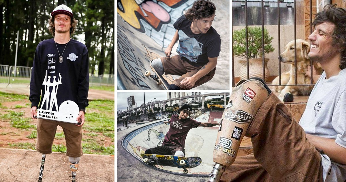 Double amputee skateboards does insane tricks without his prosthetic legs