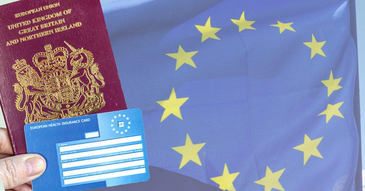 EHIC card, passport and the EU flag