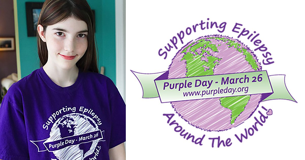 Cassidy Megan next to the purple day logo