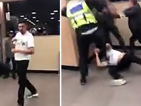Huge brawl breaks out in McDonald's after man punches security guard