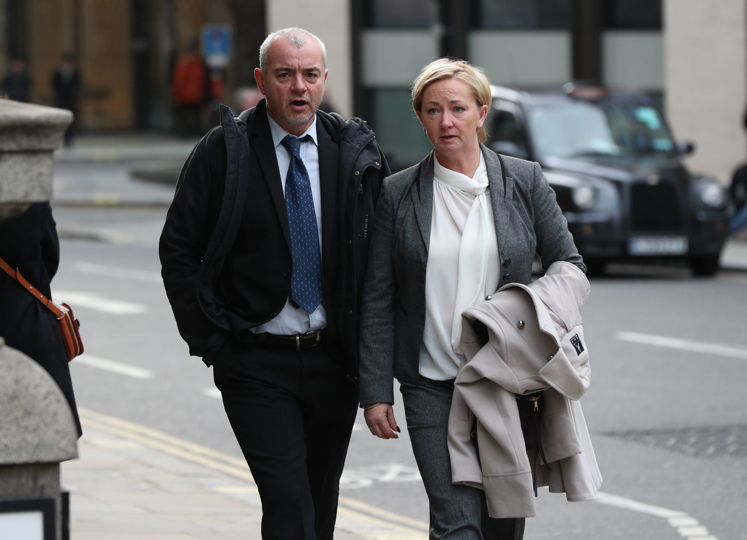 Previously unissued photo of Detective Constables Lee Pollard (left) and Sharon Patterson leaving the Old Bailey in London, where they are are accused of forging documents and concealing evidence over a three-year period, sabotaging a string of child sex abuse investigations. PRESS ASSOCIATION Photo. Picture date: Monday January 14, 2019. See PA story COURTS Officers. Photo credit should read: Jonathan Brady/PA Wire