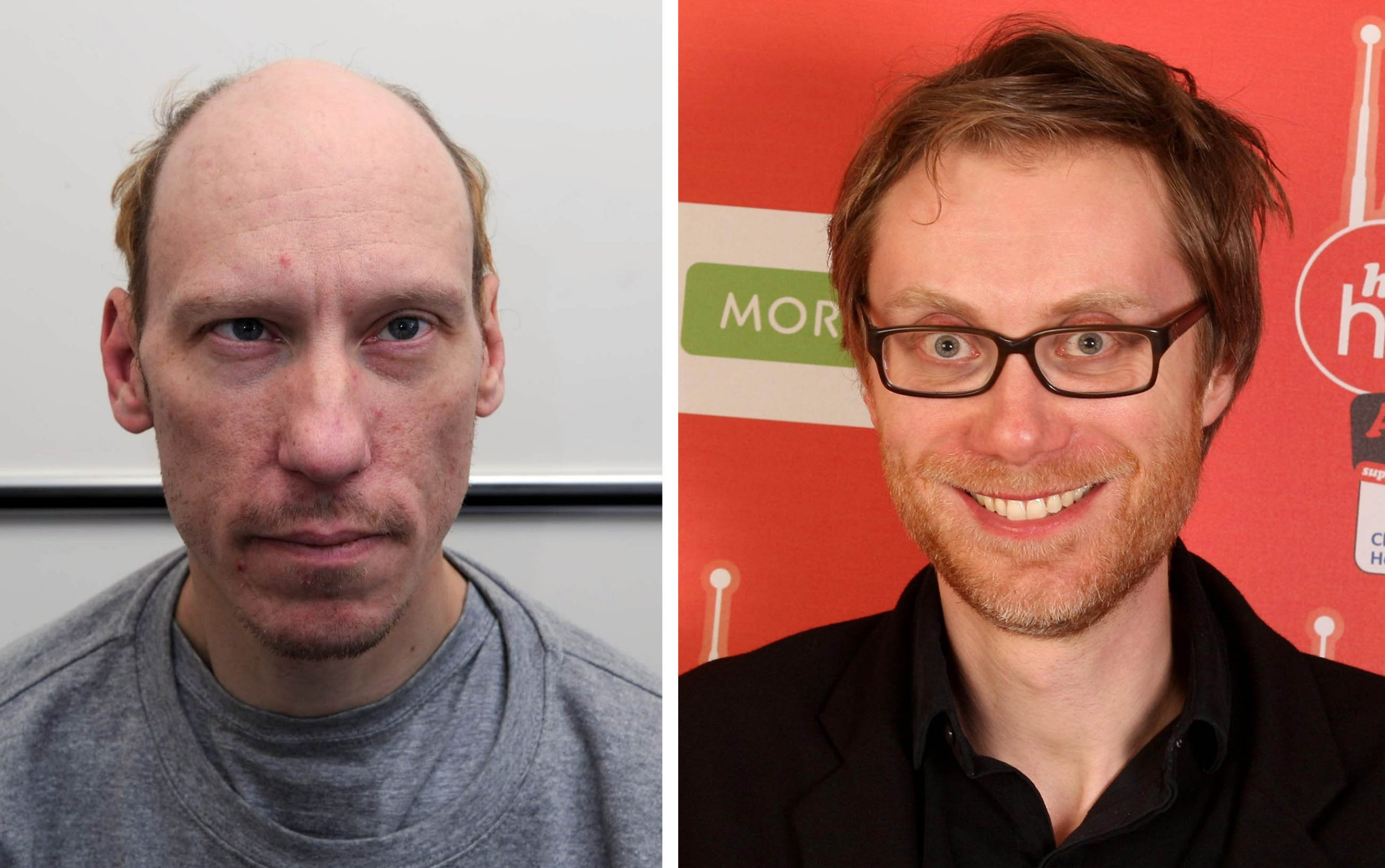 Embargoed to 0001 Saturday February 09 Metropolitan Police undated handout file photo of Stephen Port (left) and Stephen Merchant as the actor will play the serial killer in a new BBC drama, The Barking Murders, about the murders committed by Port. PRESS ASSOCIATION Photo. Issue date: Saturday February 9, 2019. The Barking Murders will be told from the point of the view of the families of the victims, focusing on their fight to uncover the truth about what happened to their sons and brothers. See PA story SHOWBIZ Barking. Photo credit should read: Metropolitan Police/Dominic Lipinski/PA Wire NOTE TO EDITORS: This handout photo may only be used in for editorial reporting purposes for the contemporaneous illustration of events, things or the people in the image or facts mentioned in the caption. Reuse of the picture may require further permission from the copyright holder.