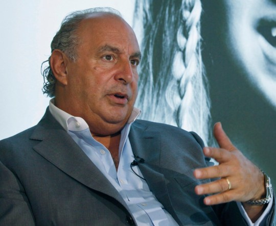 FILE - In this file photo dated Wednesday, June 5, 2013, Philip Green speaks during an interview at his new Topshop store in Hong Kong. A British newspaper has published Saturday Feb. 9, 2019, details of allegations of sexual and racial misconduct by retail tycoon Philip Green, after the Topshop owner dropped a legal bid to stop the claims being reported.(AP Photo/Kin Cheung, FILE)