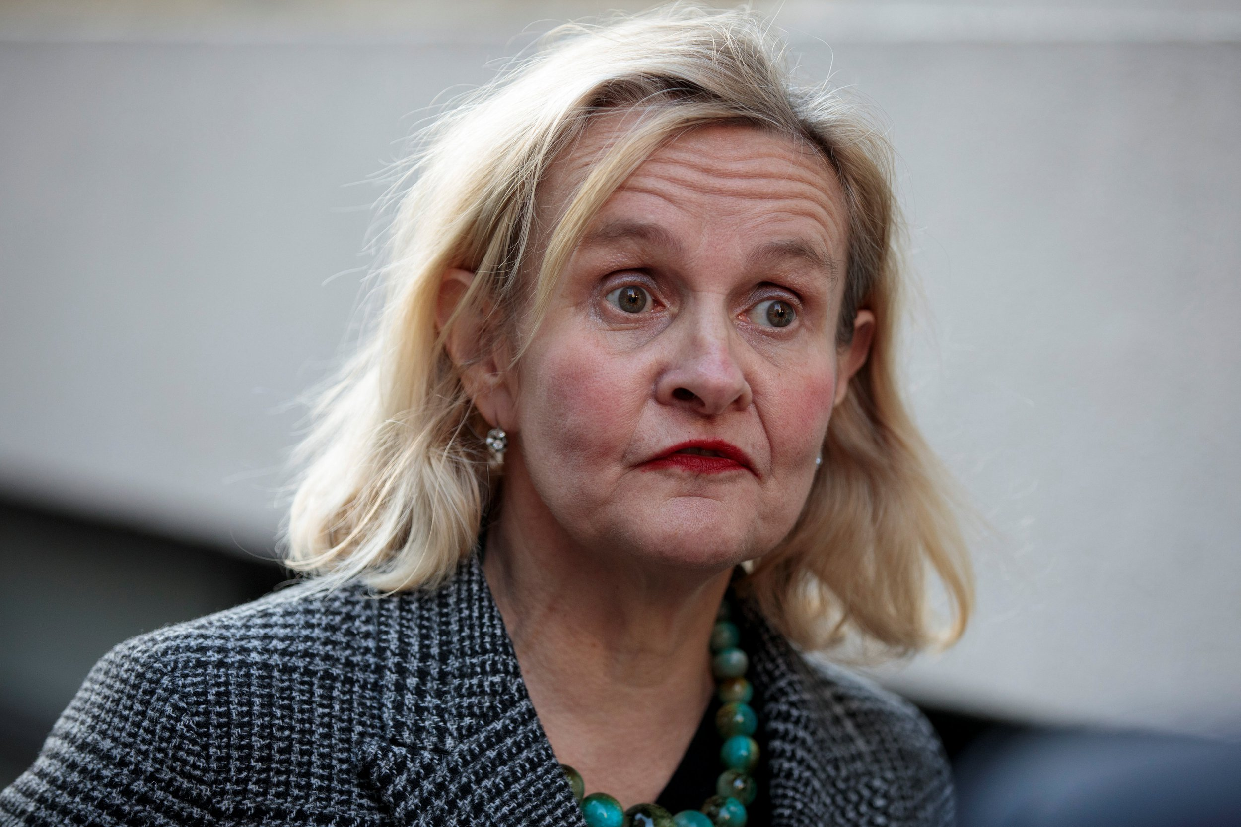 Catherine Blaiklock, founder of the Brexit Party talks during an interview in central London, Britain, February 21, 2019. Picture taken February 21, 2019. REUTERS/Simon Dawson