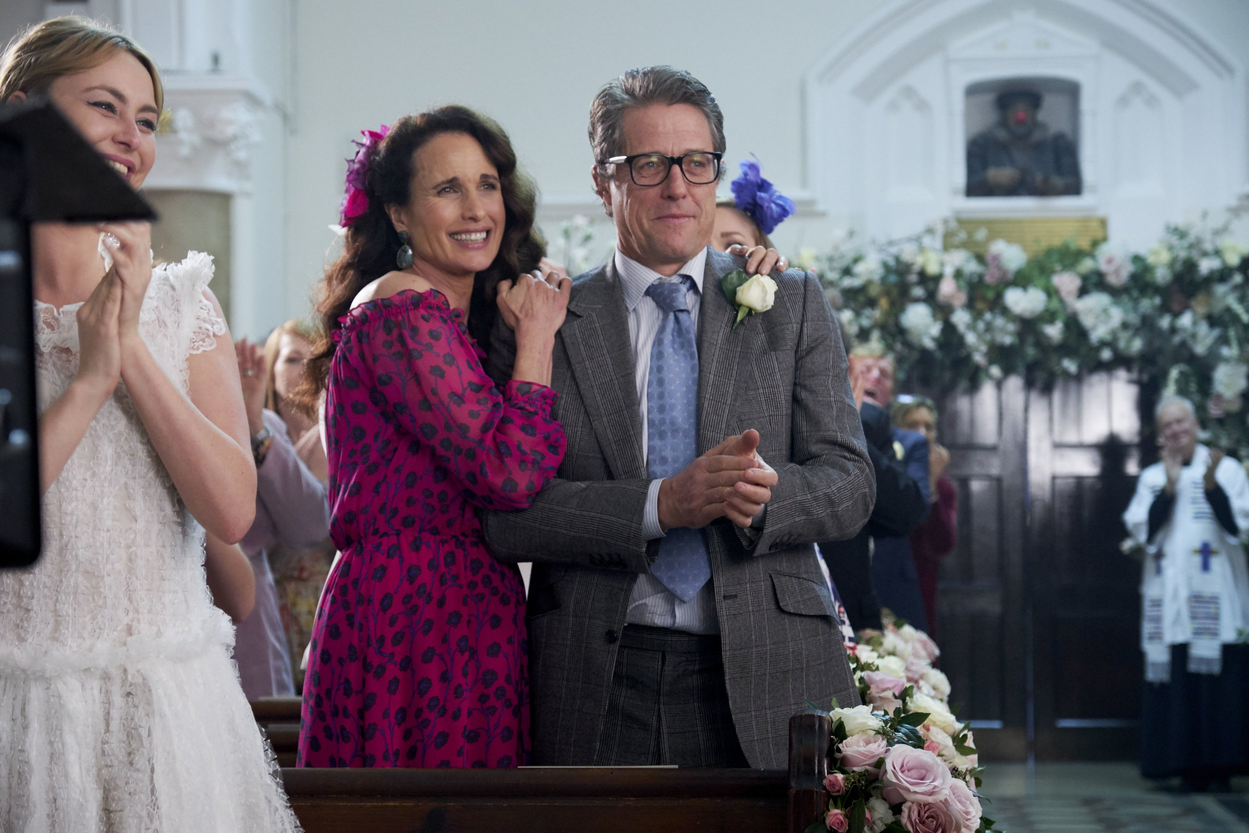 andie macdowell and hugh grant in the four weddings a funeral comic relief sequel