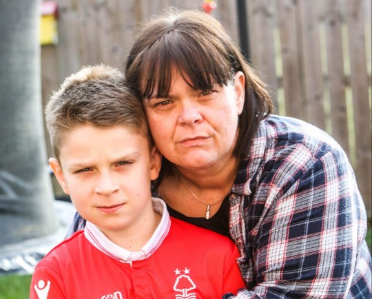 Mum Leanne O'Keefe with her son Kian Hallam, 11, of Beechdale Road, Nottingham, NG8 3AE. They are upset after her sons secondary schools applications have all been denied saying there were no available spaces at all flour schools they had applied for.