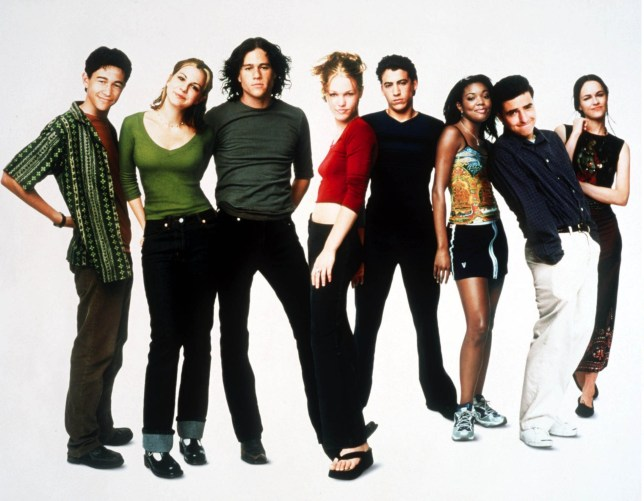 Editorial use only. No book cover usage. Mandatory Credit: Photo by Moviestore/REX/Shutterstock (8818831a) Joseph Gordon Levitt, Larisa Oleynik, Heath Ledger, Julia Stiles, Andrew Keegan, GABRILLE UNION, David Krumholtz, SUSAN MAY PRATT 10 Things I Hate About You - 1999