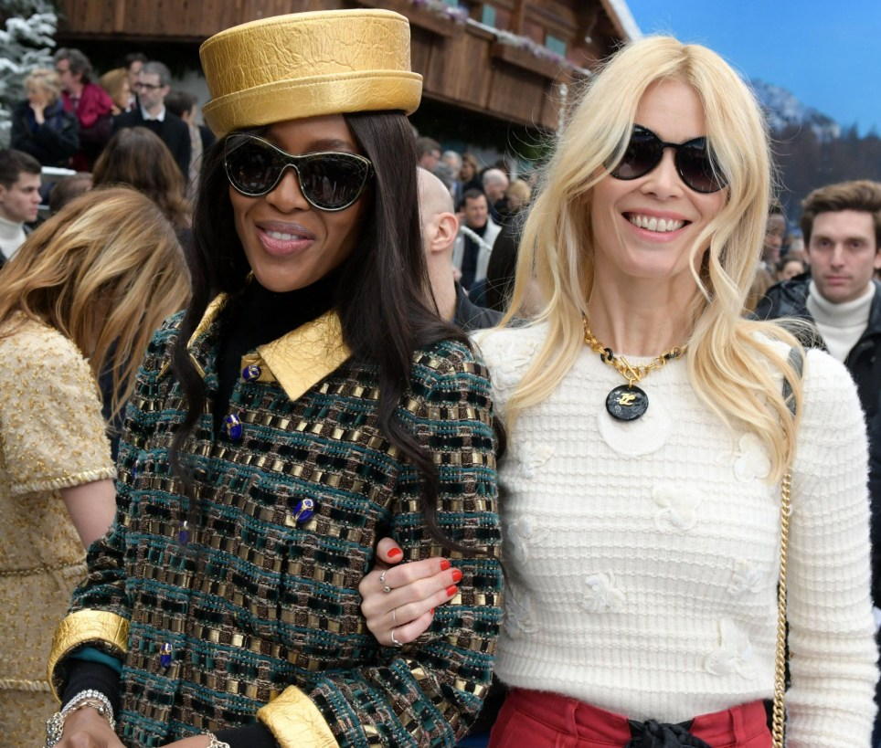 Mandatory Credit: Photo by Swan Gallet/WWD/REX (10129492v) Naomi Campbell and Claudia Schiffer in the front row Chanel show, Front Row, Fall Winter 2019, Paris Fashion Week, France - 05 Mar 2019