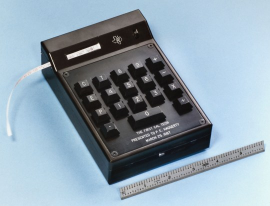 Mandatory Credit: Photo by Granger/REX/Shutterstock (8689747a) Hand-Held Calculator, 1967. The First Electric Hand-Held Calculator, Known As The Cal-Tech, Invented At Texas Instruments In 1967 By Jack S. Kilby, Jerry D. Merryman, And James Van Tessel. Hand-Held Calculator, 1967.