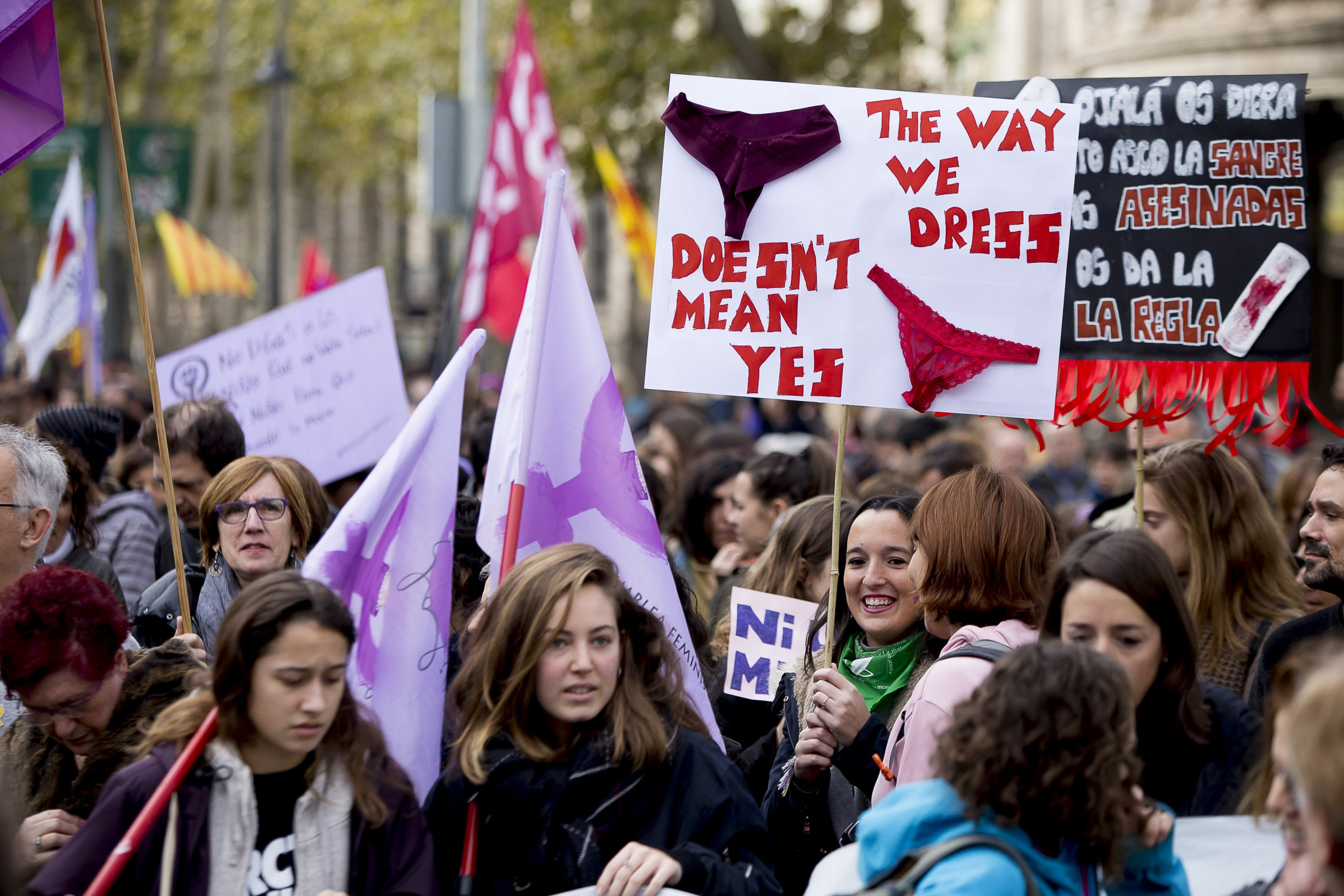 Thousands of people demonstrate against sexist violence in the International Day for elimination of Violence against women on November 25, 2018 in Barcelona, Catalonia, Spain (Photo by Miquel Llop/NurPhoto via Getty Images)