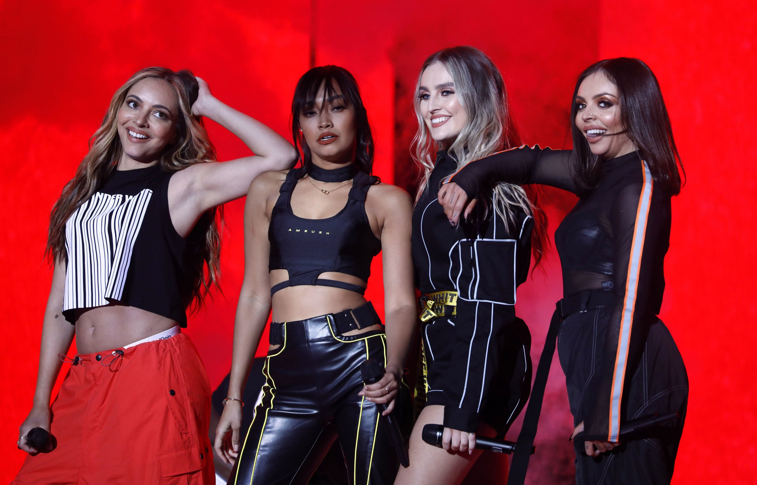 Jesy Nelson, Leigh-Anne Pinnock, Jade Thirlwall and Perrie Edwards of Little Mix perform on stage during The Global Awards 2019 with Very.co.uk held at London's Eventim Apollo Hammersmith. PRESS ASSOCIATION Photo. Picture date: Thursday March 7, 2019. Photo credit should read: David Parry/PA Wire