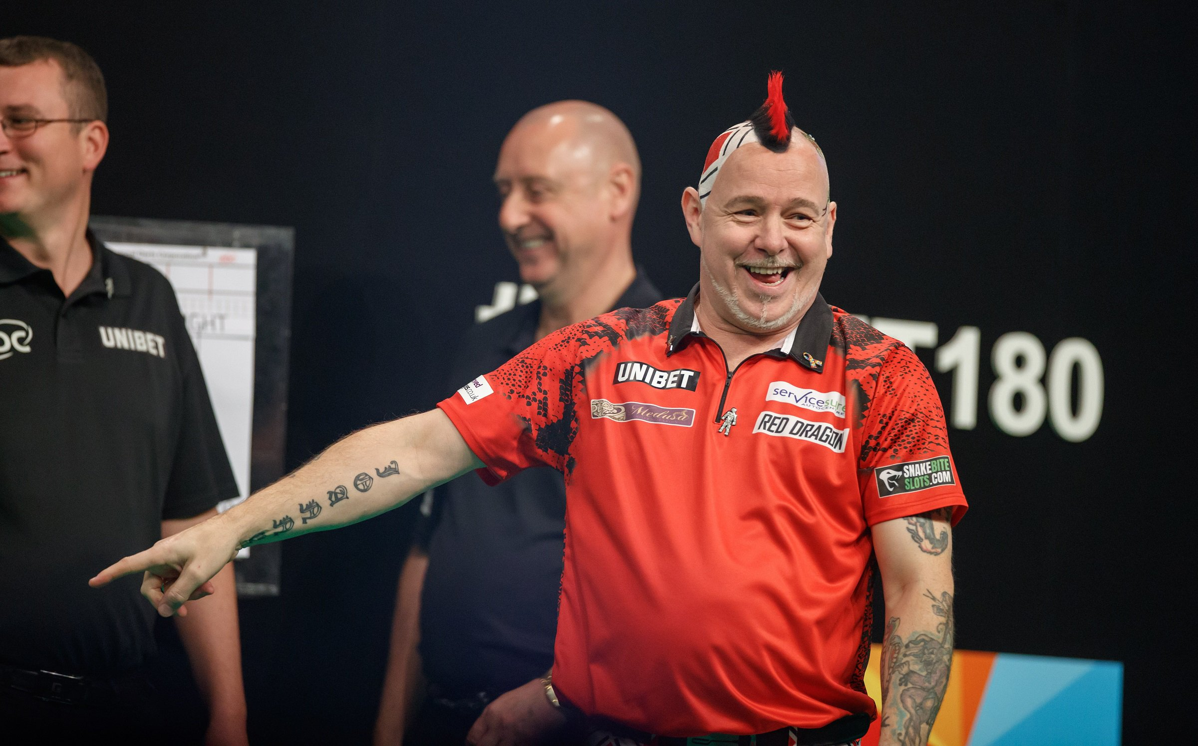 2019 Unibet Premier League Darts: Night Five- March 7 2019 The BHGE Arena: Aberdeen: Raymond van Barneveld v Peter Wright pic shows: Wright wins his match