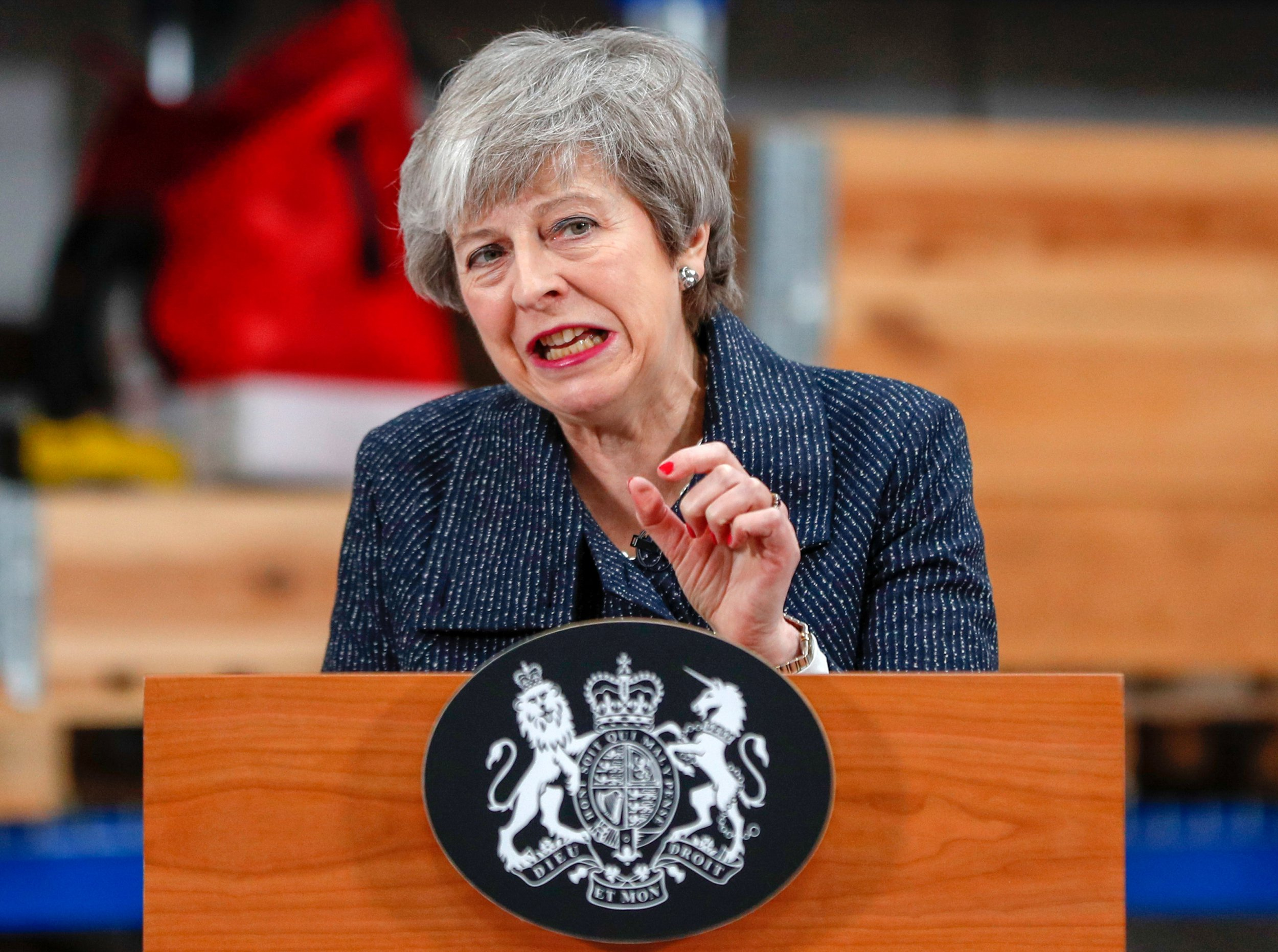 epa07422265 British Prime Minister Theresa May gives a speech at Orsted A/S manufacturing facility in Grimsby, Britain, 08 March 2019. May??appealed to members of Parliament to back her deal or risk seeing Brexit canceled, as she urged the European Union to help come up with a compromise. EPA/Darren Staples / POOL