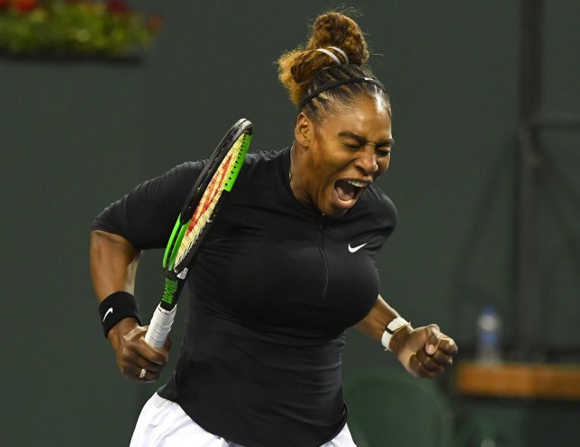 Mar 8, 2019; Indian Wells, CA, USA; Serena Williams (USA) reacts after winning the first set against Victoria Azarenka (not pictured) during her second round match in the BNP Paribas Open at the Indian Wells Tennis Garden. Mandatory Credit: Jayne Kamin-Oncea-USA TODAY Sports