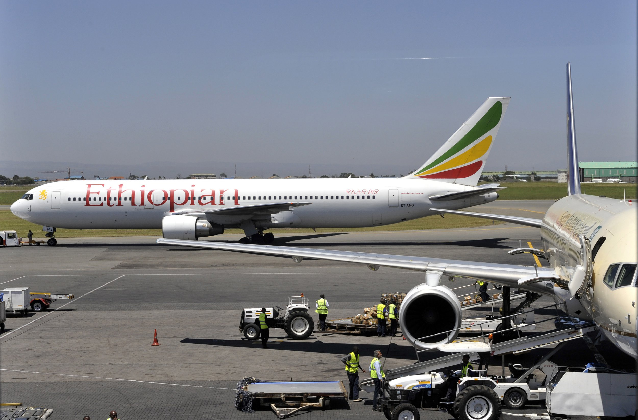 An Ethiopian Boeing 737 flight leaves the hanger in Nairobi on January 26, 2010. The crash of an Ethiopian Airlines jet, in which 90 people are feared dead on January 25, 2010, comes as a blow to a company considered the jewel of Ethiopia's industry and tipped for exponential growth. AFP PHOTO/SIMON MAINA (Photo credit should read SIMON MAINA/AFP/Getty Images)