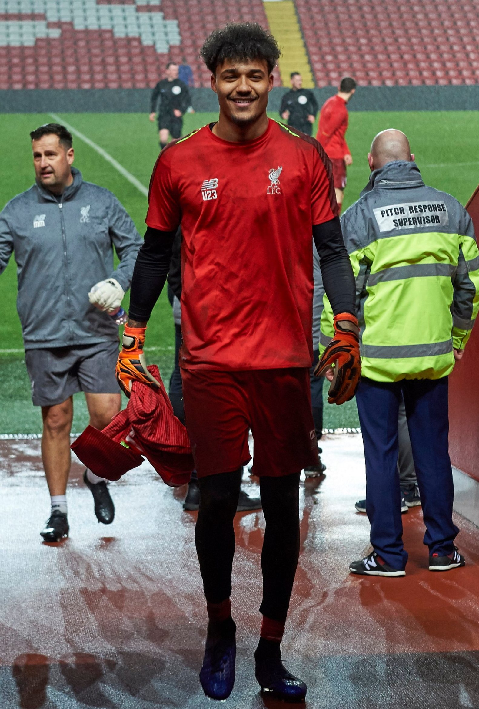LIVERPOOL, ENGLAND - MARCH 04: (THE SUN OUT, THE SUN ON SUNDAY OUT) Shamal George of Liverpool before the PL2 game at Anfield on March 4, 2019 in Liverpool, England. (Photo by Nick Taylor/Liverpool FC/Liverpool FC via Getty Images)