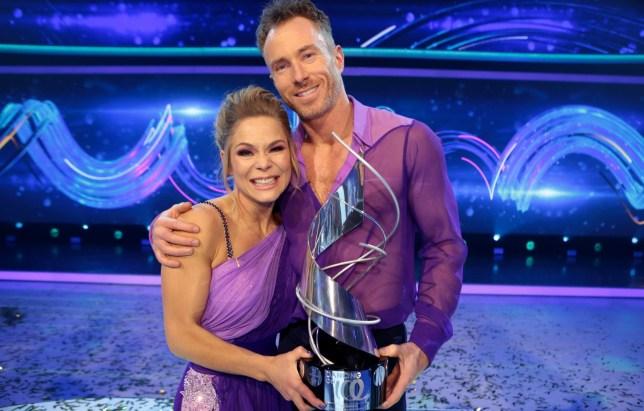 James Jordan and Alexandra Schaumann with the 2019 Dancing On Ice trophy