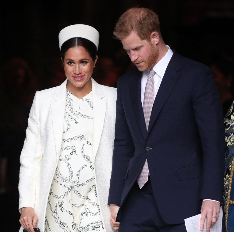 LONDON, ENGLAND - MARCH 11: Meghan, Duchess of Sussex and Prince Harry, Duke of Sussex depart the Commonwealth Service on Commonwealth Day at Westminster Abbey on March 11, 2019 in London, England. The Commonwealth represents 53 countries and almost 2.4 billion people and 2019 marks the 70th anniversary of the modern Commonwealth, enabling cooperation towards social, political and economic development. (Photo by Chris Jackson/Getty Images)