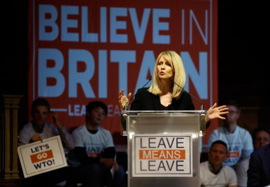 """Conservative Party MP Esther McVey speaks at a political rally entitled 'Lets Go WTO' hosted by pro-Brexit lobby group Leave Means Leave in London on January 17, 2019. - British Prime Minister Theresa May scrambled to put together a new Brexit strategy on Thursday after MPs rejected her EU divorce deal and demanded that she rule out a potentially disastrous """"no-deal"""" split. (Photo by Tolga AKMEN / AFP) (Photo credit should read TOLGA AKMEN/AFP/Getty Images)"""