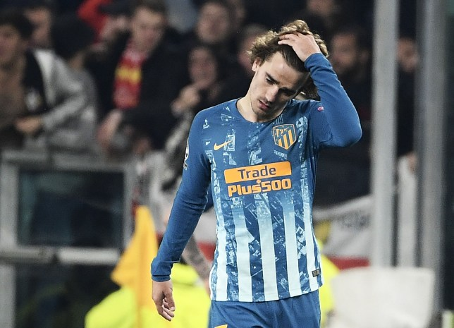 Atletico Madrid's French forward Antoine Griezmann reacts as he leaves the pitch at the end of the UEFA Champions League round of 16 second-leg football match Juventus vs Atletico Madrid on March 12, 2019 at the Juventus stadium in Turin. (Photo by Filippo MONTEFORTE / AFP)FILIPPO MONTEFORTE/AFP/Getty Images