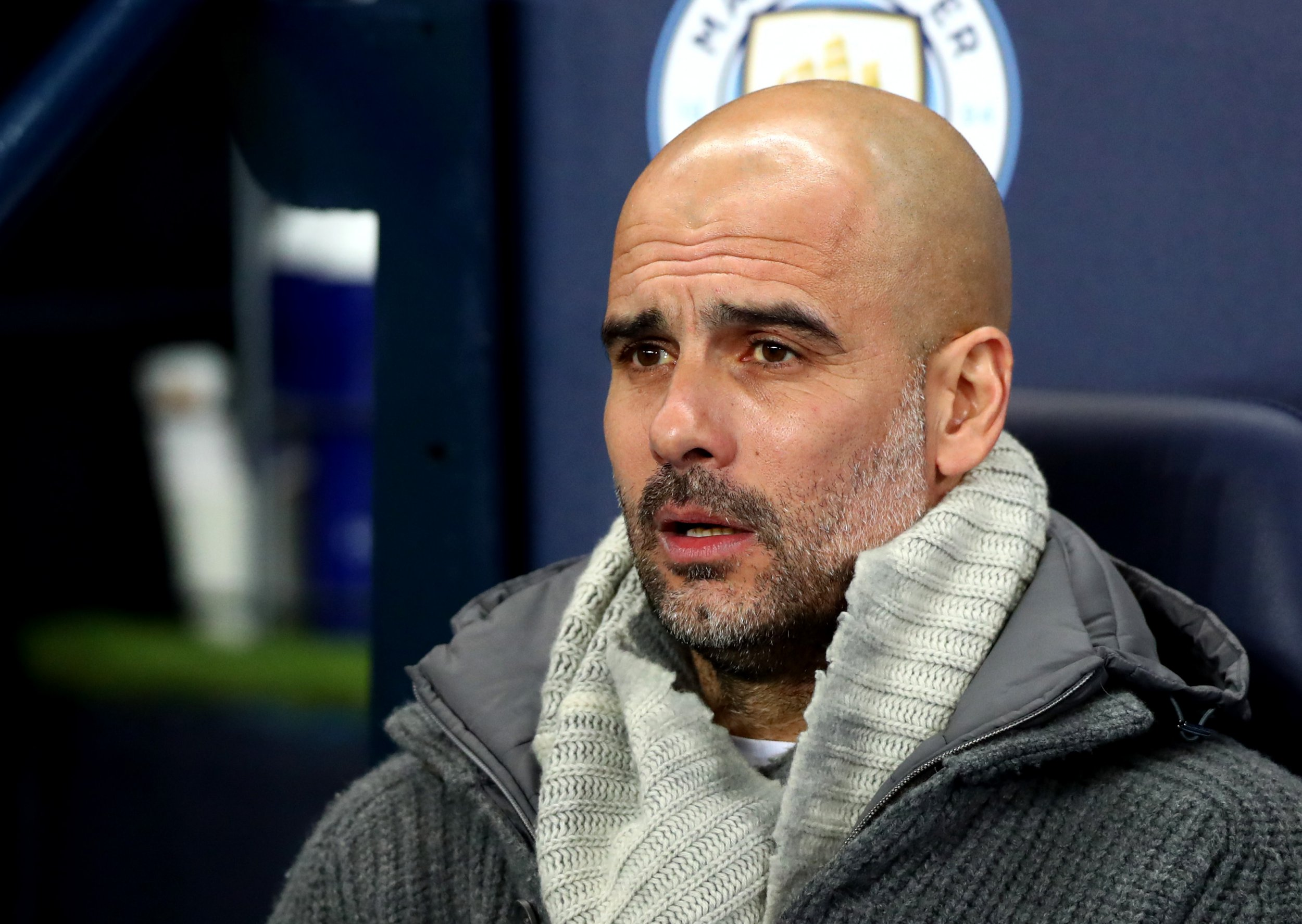 MANCHESTER, ENGLAND - MARCH 12: Manchester City Manager Pep Guardiola looks on during the UEFA Champions League Round of 16 Second Leg match between Manchester City and FC Schalke 04 at Etihad Stadium on March 12, 2019 in Manchester, England. (Photo by Chloe Knott - Danehouse/Getty Images)