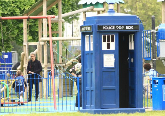 Mandatory Credit: Photo by Huw Evans/REX/Shutterstock (4786519ac) Peter Capaldi and the Tardis 'Doctor Who' TV show on set filming, Wales, Britain - 22 May 2015