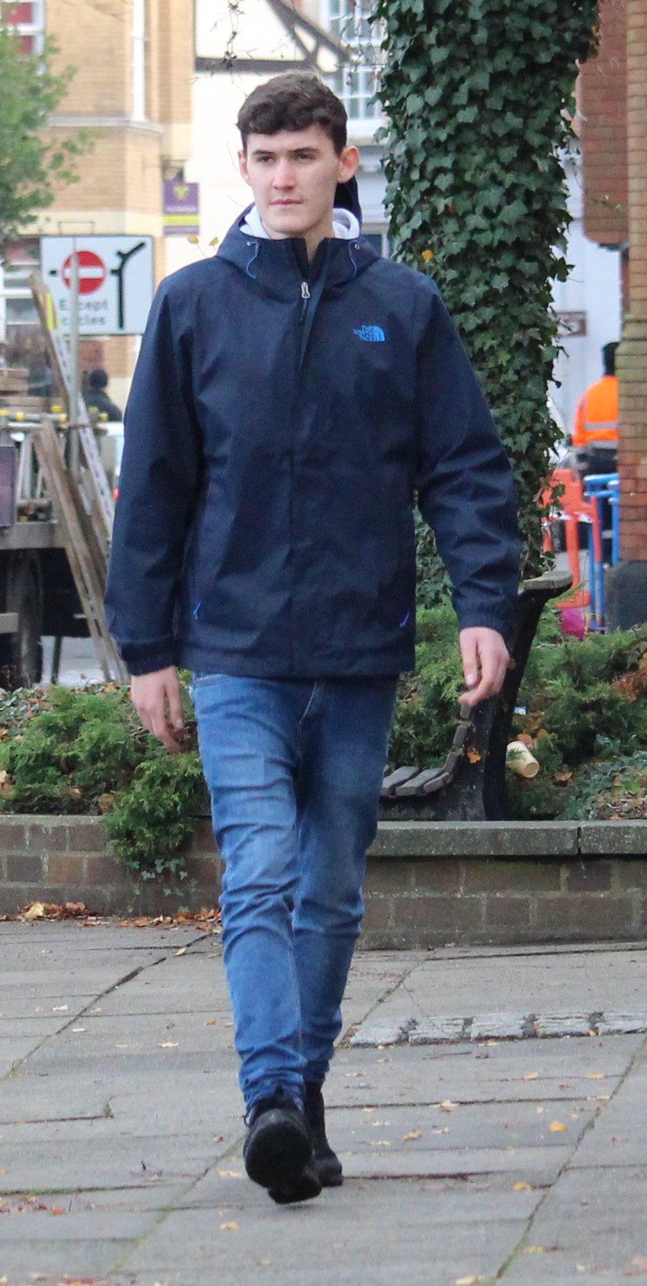 EAST ANGLIA NEWS SERVICE, tel. 07767 413379 Cohan Semple, 18, arriving at Suffolk magistrates court in December before being sentenced for his part in the flour and eggs attack on a vulnerable woman in Bury St Edmunds, Suffolk