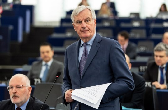 epa07433233 Michel Barnier, the European Chief Negotiator of the Task Force for the Preparation and Conduct of the Negotiations with the United Kingdom under Article 50, delivers his speech at the debate on UK???s withdrawal from the EU in Strasbourg, France, 13 March 2019. British MPs will vote later in the day on whether to block the UK from leaving the EU without a deal on 29 March, after again rejecting the PM's withdrawal agreement on 12 March. The United Kingdom is officially due to leave the European Union on 29 March 2019, two years after triggering Article 50 in consequence to a referendum. EPA/PATRICK SEEGER