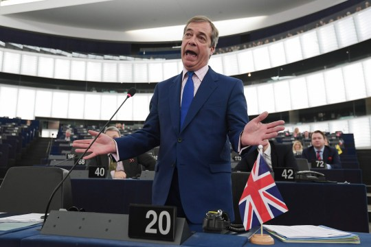 "TOPSHOT - Former UK Independence Party (UKIP) leader, Brexit campaigner and member of the European Parliament Nigel Farage gestures as he speaks during a debate on the preparation of the upcoming European Council meeting of March 21 and 22 and UKs withdrawal from the EU during a plenary session at the European Parliament on March 13, 2019 in Strasbourg, eastern France. - The European Union will have to hear from Britain how it plans to deliver a divorce deal agreement before deciding whether to delay Brexit, negotiator Michel Barnier said on March 13. ""The United Kingdom must tell us what its choice is, the clear line we're waiting for, before we even decide on an eventual extension,"" Barnier told members of the European Parliament. (Photo by FREDERICK FLORIN / AFP)FREDERICK FLORIN/AFP/Getty Images"