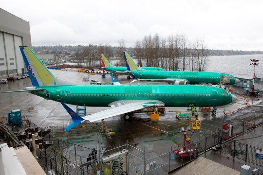 "A Boeing 737 MAX 8 for China Southern Airlines (front) is pictured at the Boeing Renton Factory in Renton, Washington on March 12, 2019. - US President Donald Trump on March 13, 2019, announced a plan to ground all Boeing 737 MAX aircraft amid intense international and political pressure following the second deadly crash in less than five months. ""We're going to be issuing an emergency order of prohibition regarding all flights of the 737 MAX 8 and 737 MAX 9,"" Trump told reporters the White House. (Photo by Jason Redmond / AFP)JASON REDMOND/AFP/Getty Images"
